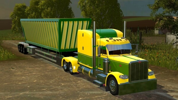 peterbilt 388 yellow green 1